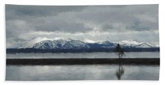 Reflections In Lake Yellowstone Beach Sheet by Jayne Wilson
