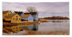 Reflections In The Harbor Beach Towel