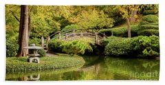 Beach Towel featuring the photograph Reflections In The Japanese Garden by Iris Greenwell