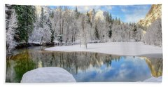 Reflections In The Merced River Yosemite National Park Beach Towel