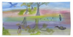 Beach Towel featuring the painting Songs Of A Reflective Pond by Meryl Goudey