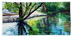 Trees Reflections Beach Towel