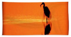 Reflections Of A Heron Beach Towel