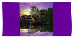 Reflections Of A Squirrel Monkey Beach Towel