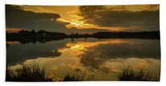 Beach Towel featuring the photograph Reflections Of A Sunset by Nick Bywater