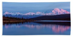 Beach Sheet featuring the photograph Reflections Of Denali At Sunset by Brenda Jacobs