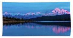 Sunset Reflections Of Denali In Wonder Lake Beach Sheet