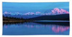 Sunset Reflections Of Denali In Wonder Lake Beach Sheet