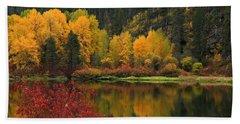Reflections Of Fall Beauty 2 Beach Towel by Lynn Hopwood