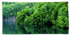 Reflections Of Plitvice, Plitvice Lakes National Park, Croatia Beach Towel