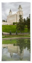 Reflections Of The Manti Temple At Pioneer Heritage Gardens Beach Towel