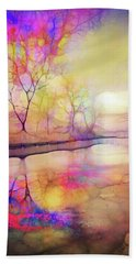 Beach Towel featuring the digital art Reflections On Ice by Tara Turner