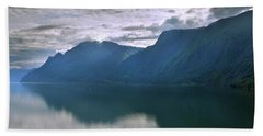 Reflections On Sognefjorden Beach Towel by Terence Davis