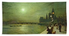 Reflections On The Thames Beach Towel by John Atkinson Grimshaw