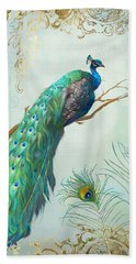 Regal Peacock 1 On Tree Branch W Feathers Gold Leaf Beach Towel by Audrey Jeanne Roberts