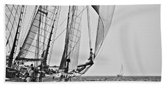 Regatta Heroes In A Calm Mediterranean Sea In Black And White Beach Sheet