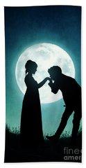 Regency Couple Silhouetted By The Full Moon Beach Sheet by Lee Avison