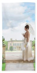 Regency Woman In The Grounds Of A Historic Mansion Beach Towel