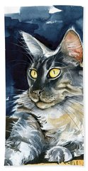 Regina - Maine Coon Painting Beach Sheet