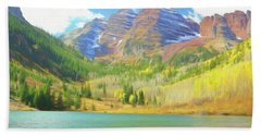 Beach Towel featuring the photograph The Maroon Bells Reimagined 1 by Eric Glaser