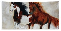 Beach Towel featuring the painting Rein And Dancer by Barbie Batson