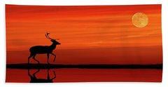 Reindeer By Moonlight Beach Towel