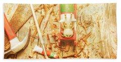 Reindeer With Tools And Wood Shavings Beach Towel