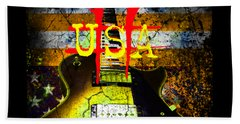 Beach Towel featuring the photograph Relic Guitar Music Patriotic Usa Flag by Guitar Wacky