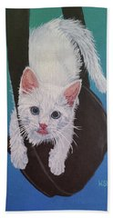 Beach Towel featuring the painting Rembrandt Justa Swingin by Wendy Shoults