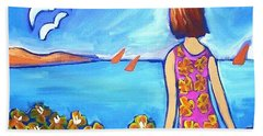Beach Towel featuring the painting Remembering Joy by Winsome Gunning