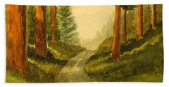 Remembering Redwoods Beach Towel by Marilyn Jacobson