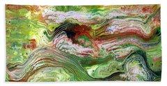 Remembering Vincent-acrylic Pour #12 Beach Towel