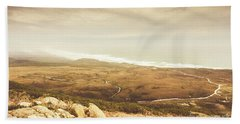 Remote Roads And Foggy Coastlines Beach Towel