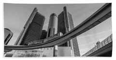 Renaissance Center And People Mover Beach Towel