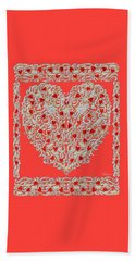 Renaissance Style Heart Beach Towel