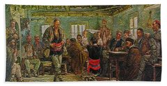 Beach Sheet featuring the painting replica of Ruchenitsa by Nikola Tanev by Pemaro