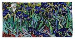 Beach Towel featuring the digital art replica of Van Gogh irises by Pemaro