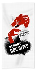 Beach Towel featuring the mixed media Report Dog Bites - Wpa by War Is Hell Store