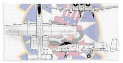 Republic A-10 Thunderbolt II Beach Towel by Arthur Eggers