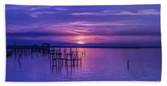 Rest Well World Purple Sunset Beach Towel