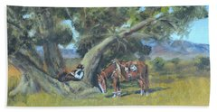 Beach Towel featuring the painting Resting Cowboy Painting A Study by Katalin Luczay