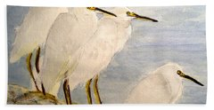Beach Towel featuring the painting Resting Egrets by Carol Grimes
