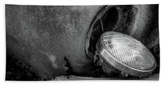 Resting Headlight Of Rusty Car Beach Towel