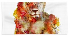 Resting Lioness In Watercolor Beach Towel