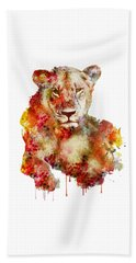 Resting Lioness In Watercolor Beach Sheet