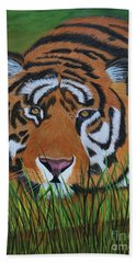 Beach Towel featuring the painting Resting Tiger  by Myrna Walsh