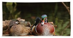 Resting Wood Ducks Beach Towel