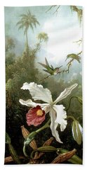 Retouched Masters - Orchid And Hummingbirds In Tropical Forest Beach Towel by Audrey Jeanne Roberts