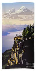 Retro Beautiful Bc Travel Poster Beach Towel by Sassan Filsoof