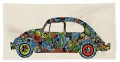 Retro Beetle Car 3 Beach Towel